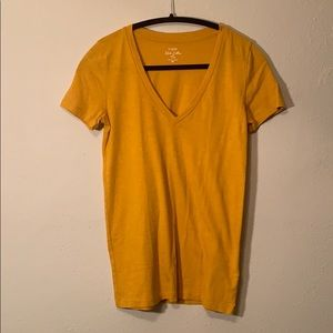 Burnt yellow v neck tee from J crew